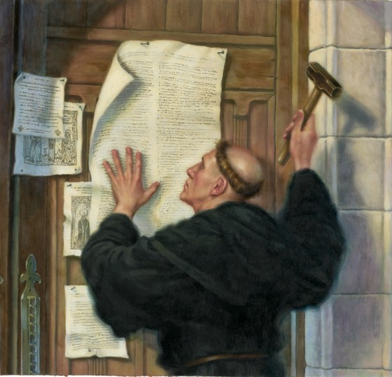 Martin Luther nailing the 95 Thesis to the door of the Catholic church